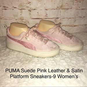 PUMA Suede Pink Leather& Satin Platform Shoes-9